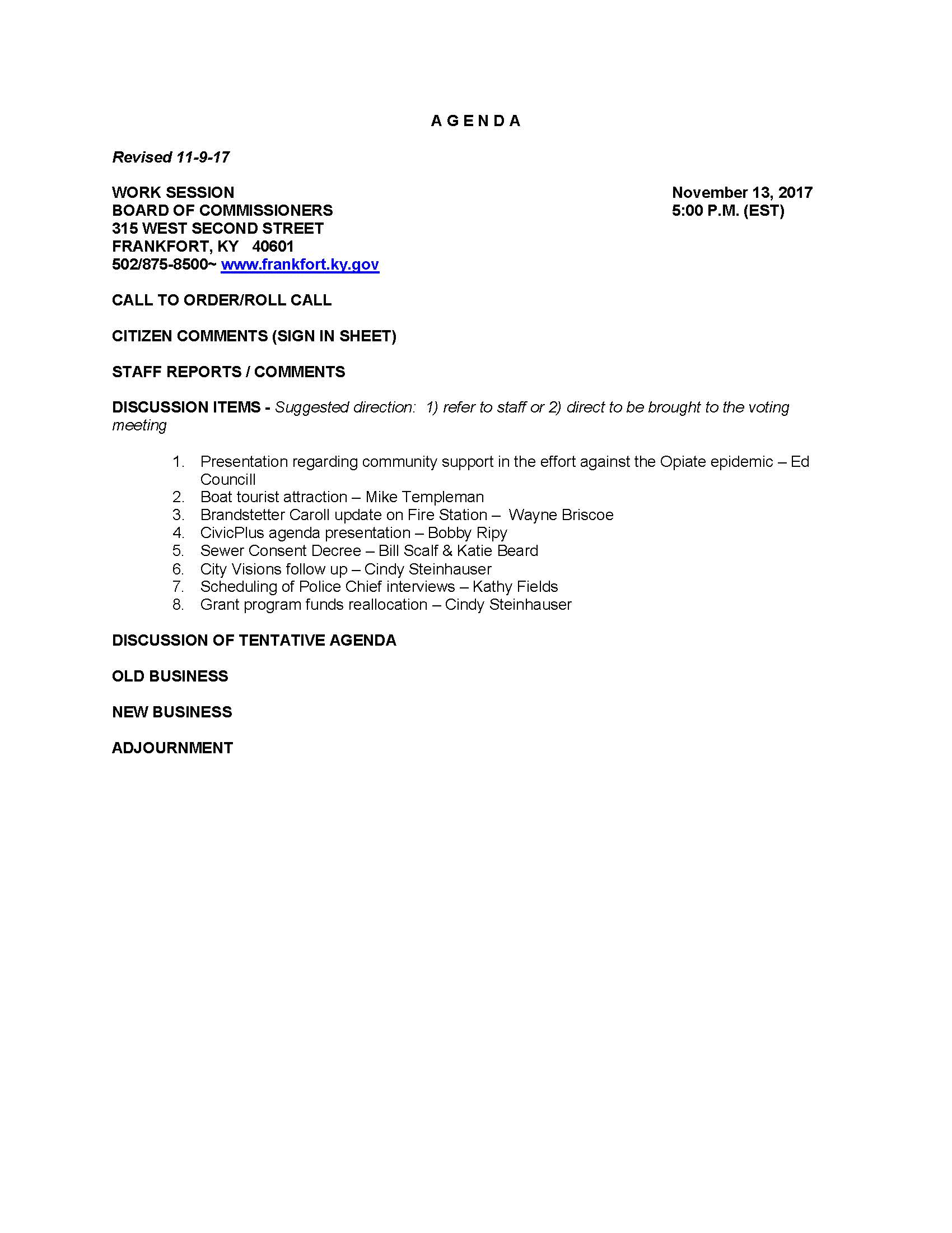 Monday 13 Nov 2017 – City Commission Meetings / Work Session